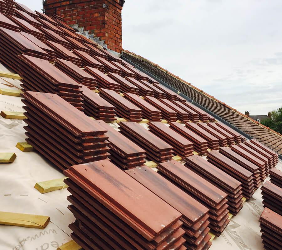 Slate tiles lined up