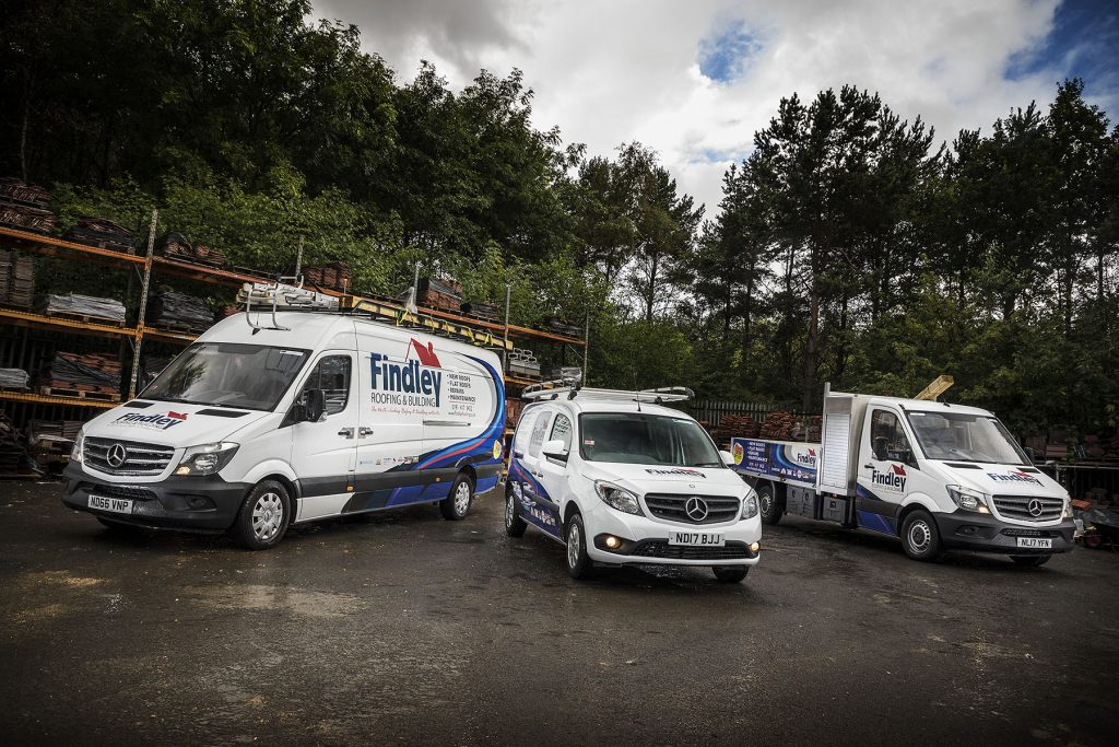 A selection of the new Findley Roofing Mercedes vans